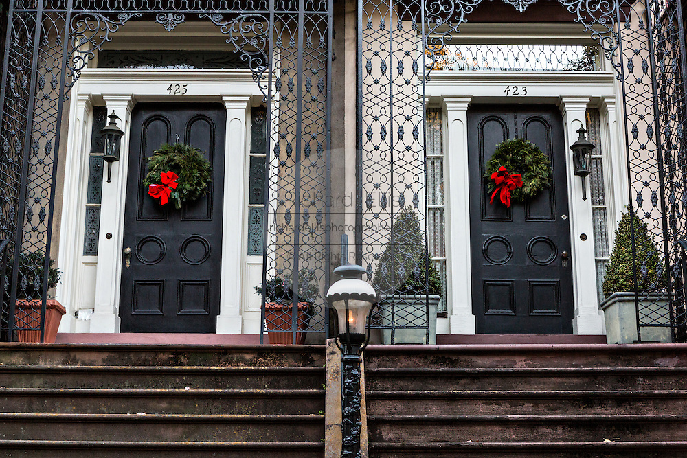 Christmas wreaths on a historic home in Pulaski Square in Savannah, GA.