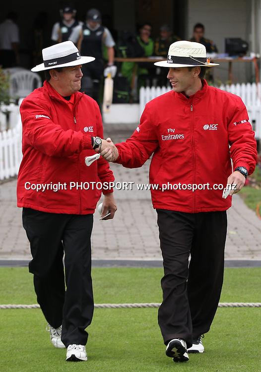 ICC Umpires Gary Baxter and Chris Gaffaney. New Zealand Black Caps v Pakistan, Match 2. Twenty 20 Cricket match at Seddon Park, Hamilton, New Zealand. Tuesday 28 December 2010. Photo: Andrew Cornaga/photosport.co.nz