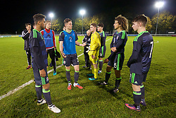 BANGOR, WALES - Tuesday, November 15, 2016: Wales' captain Tyler Roberts, Cameron Coxe, Ethan Ampadu and Ben Woodburn discuss the final standings after the 6-2 victory over Luxembourg during the UEFA European Under-19 Championship Qualifying Round Group 6 match at the Nantporth Stadium. (Pic by David Rawcliffe/Propaganda)