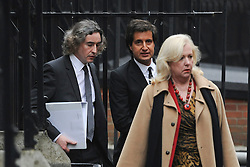 © London News Pictures. 22/11/2011. London, UK.  L to R Comedian STEVE COOGAN, DAVID SHERBORNE  QC and Former business adviser of supermodel Elle Macpherson, MARY-ELLEN FIELD arriving at The Royal Courts of Justice today (22/11/2011) to give evidence at the Leveson Inquiry into press standards. The inquiry is being lead by Lord Justice Leveson and is looking into the culture, and practice of the UK press. The Leveson inquiry, which may take a year or more to complete, comes after The News of The World Newspaper was closed following a phone hacking scandal. Photo credit : Ben Cawthra/LNP