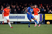 AFC Wimbledon midfielder Liam Trotter (14) passing the ball during the EFL Sky Bet League 1 match between AFC Wimbledon and Southend United at the Cherry Red Records Stadium, Kingston, England on 1 January 2018. Photo by Matthew Redman.