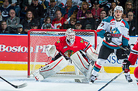KELOWNA, CANADA - APRIL 14: Cole Kehler #31 of the Portland Winterhawks defends the net behind Calvin Thurkauf #27 of the Kelowna Rockets on April 14, 2017 at Prospera Place in Kelowna, British Columbia, Canada.  (Photo by Marissa Baecker/Shoot the Breeze)  *** Local Caption ***