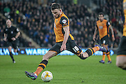 Robert Snodgrass (Hull City) crosses the ball into the box during the Sky Bet Championship match between Hull City and Nottingham Forest at the KC Stadium, Kingston upon Hull, England on 15 March 2016. Photo by Mark P Doherty.