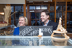 © Licensed to London News Pictures . 15/01/2015 . Stockport , UK . Deputy Prime Minister Nick Clegg (r) visits Cowburn's Family Backery on High Lane in Hazel Grove with Lib Dem PPC for Hazel Grove , Lisa Smart (l) . Photo credit : Joel Goodman/LNP CORRECTION ***TODAY PIC***