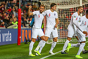 Goal England forward Harry Kane scores from the penalty spot and celebrates 0-1 during the UEFA European 2020 Qualifier match between Czech Republic and England at Sinobo Stadium, Prague, Czech Republic on 11 October 2019.