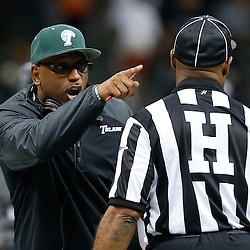 Sep 7, 2013; New Orleans, LA, USA; Tulane Green Wave head coach Curtis Johnson argues with an official during the second quarter of a game against the South Alabama Jaguars at the Mercedes-Benz Superdome. Mandatory Credit: Derick E. Hingle-USA TODAY Sports
