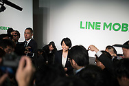Line Mobile's President and CEO Ayano Kado answers to the journalist after a press conference on March 14, 2017, Tokyo, Japan. Line announced that it would launch an expansion of service for the application line music. 14/03/2017-Tokyo, JAPAN