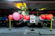 Floats and motorized vehicles used by lifeguards are parked in a hotel garage. WATERMARKS WILL NOT APPEAR ON PRINTS OR LICENSED IMAGES.