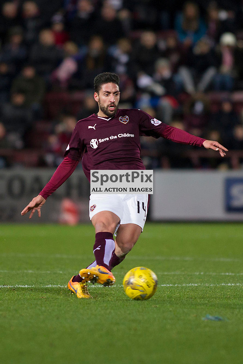 Miguel Pallardo Gonzalez of Hearts during the Ladbrokes Scottish Premiership match between Heart of Midlothian FC and Dundee FC at Tynecastle Stadium on November 21, 2015 in Edinburgh, Scotland. Photo by Jonathan Faulds/SportPix