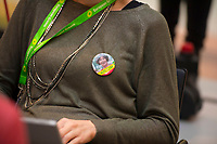 "DEU, Deutschland, Germany, Berlin, 23.11.2018: Council of the European Green Party (EGP council) at Deutsche Telekom Representative Office. Participant with a badge ""Vote Petra"", Petra De Sutter, Senator, nominated by Groen (Belgium)."