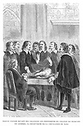 Harvey demonstrating circulation of the blood to the College of Physicians, c1628.  William Harvey (1578-1657), English physician, published his famous 'De motu cordis…' ('Anatomical Exercise on the Motion of the Heart and Blood in Animals'), in 1628. In this work he was the first to use scientific method to explain a biological problem. From 'Vies des Savants Illustres', Louis Figuier,  (Paris 1870).