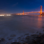 The Golden Gate Bridge is seen on the eve of the 75th anniversary of its completion from Fort Baker in Marin County.