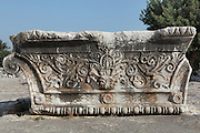 Carved decorative capital which initially crowned the fringed pilasters of the Temple of Apollo, 4th century BC, Didyma, Aydin, Turkey. Didyma was an ancient Greek sanctuary on the coast of Ionia near Miletus, consisting of a temple complex and the oracle of Apollo, or Didymaion, who was visited by pilgrims from across the Greek world. The earliest temple ruins found here date to the 8th century BC but Didyma's heyday lasted throughout the Hellenistic age. It was approached along a 17km Sacred Way from Miletus and is the largest sanctuary in Western Turkey. Picture by Manuel Cohen