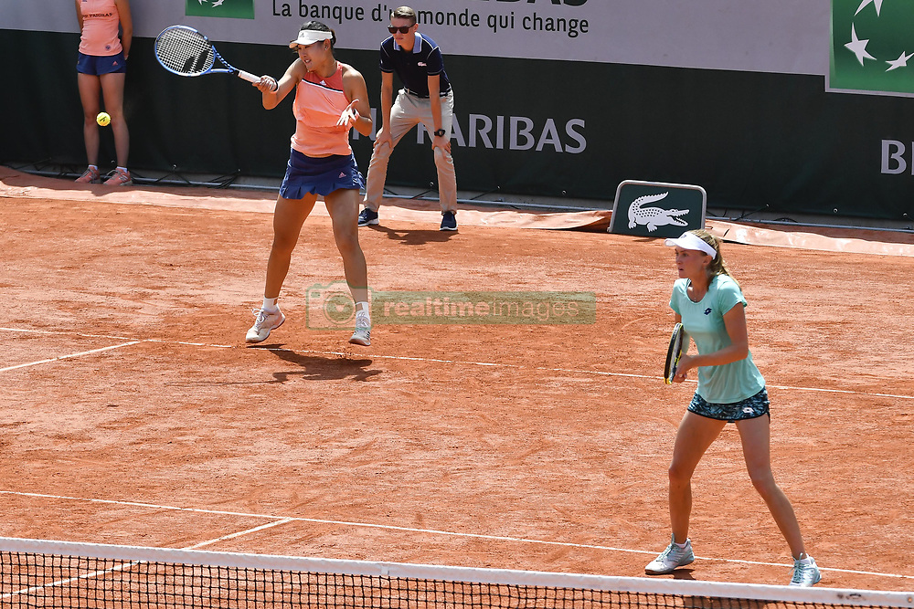 2018?6?4? .   ????????——?????????????????? .    6?4??????????????????????? .    ???????????2018????????????????????????????????????????0-2???????????????????????.    ?????????..(SP)FRANCE-PARIS-TENNIS-FRENCH OPEN-DAY 9..(180604) -- PARIS, June 4, 2018  Duan Yingying (rear) of China/Aliaksandra Sasnovich of Belarus returns a shot during the women's doubles third round match against Andrea Sestina Hlavackova/Barbora Strycova of Czech at the French Open Tennis Tournament 2018 in Paris, France on June 4, 2018. Andrea Sestina Hlavackova/Barbora Strycova won 2-0. (Credit Image: © Chen Yichen/Xinhua via ZUMA Wire)