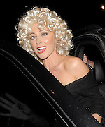 01.OCTOBER.2009 - LONDON<br /> <br /> JENNY FROST LEAVING HOME HOUSE, MARBLE ARCH AFTER ATTENDING A FRIENDS BIRTHDAY PARTY IN 60'S FANCY DRESS INCLUDING BIG BLONDE HAIR AND NO BRA ON.<br /> <br /> BYLINE: EDBIMAGEARCHIVE.COM<br /> <br /> *THIS IMAGE IS STRICTLY FOR UK NEWSPAPERS & MAGAZINES ONLY*<br /> *FOR WORLDWIDE SALES & WEB USE PLEASE CONTACT EDBIMAGEARCHIVE-0208 954 5968*