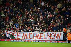 LIVERPOOL, ENGLAND - Monday, December 1, 2008: Supporters on the Spion Kop show their support for Michael Shields, the Liverpool fan imprisoned in Bulgaria in 2005 for a crime he did not commit before the Premiership match against West Ham United at Anfield. (Photo by David Rawcliffe/Propaganda)