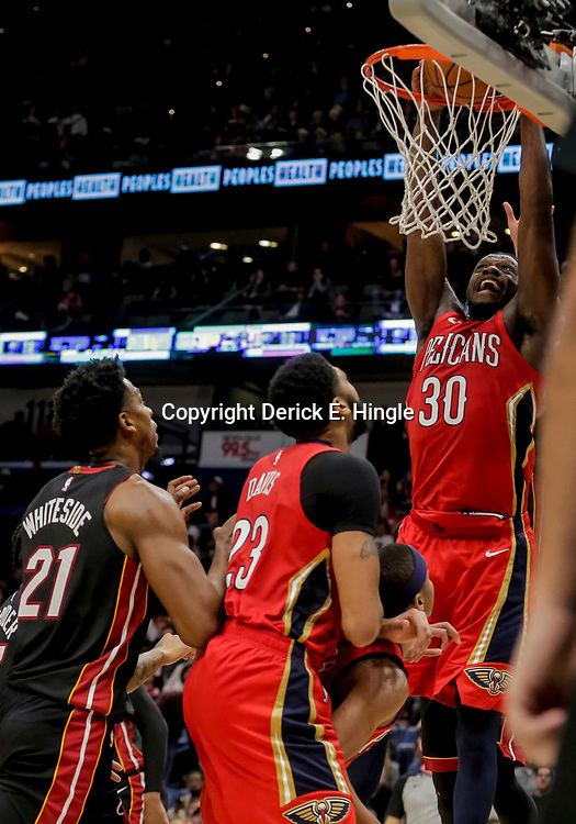 Dec 16, 2018; New Orleans, LA, USA; New Orleans Pelicans forward Julius Randle (30) dunks against the Miami Heat during the second half at the Smoothie King Center. Mandatory Credit: Derick E. Hingle-USA TODAY Sports