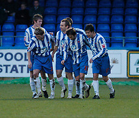 Photo: Leigh Quinnell.<br /> Hartlepool United v Swindon Town. Coca Cola League 1.<br /> 02/01/2006. Hartlepools Gavin Strachan (2nd right) celebrates his goal with his team mates.