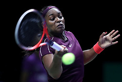 October 27, 2018 - Singapore - Sloane Stephens of the United States returns a shot during the semi final match between Sloane Stephens and Karolina Pliskova on day 7 of the WTA Finals at the Singapore Indoor Stadium. (Credit Image: © Paul Miller/ZUMA Wire)