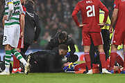 Gary Mackay-Steven gets medical treatment during the Betfred Cup Final between Celtic and Aberdeen at Hampden Park, Glasgow, United Kingdom on 2 December 2018.