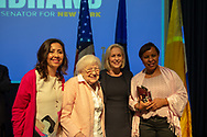 Hempstead New York, October 5, 2018. U.S. Senator KIRSTEN GILLIBRAND (D-NY), wearing black dress, poses with, L-R, MARIA TERESA ROMERO, ELSA FORD, and MILLIE MOTA, members of Brentwood Bay Shore Breast Cancer Coalition, at end of Gillibrand's Town Hall Meeting at Hofstra University on Long Island. Democratic Sen. Gillibrand;s up for re-election in midterm elections.