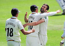 Mark Wood of Durham celebrates the wicket of Roelof Van Der Merwe with his teammates.  - Mandatory by-line: Alex Davidson/JMP - 04/08/2016 - CRICKET - The Cooper Associates County Ground - Taunton, United Kingdom - Somerset v Durham - County Championship