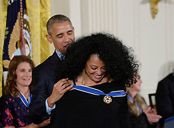 US President Barack Obama presents vocalist and musician Diana Ross with the Presidential Medal of Freedom, the nation's highest civilian honor, during a ceremony honoring 21 recipients, in the East Room of the White House in Washington, DC, November 22, 2016. Photo by Olivier Douliery/ABACA