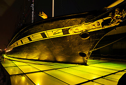 © Licensed to London News Pictures. 18/05/2012. Bristol, UK. The SS Great Britain is surrounded by green jelly on glass lit from below as part of an arts project.  18 May 2012..Photo credit : Simon Chapman/LNP