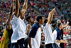Tyson Chandler of USA and other players of USA celebrate during the finals basketball match between National teams of Turkey and USA at 2010 FIBA World Championships on September 12, 2010 at the Sinan Erdem Dome in Istanbul, Turkey.  USA defeated Turkey 81 - 64 and became World Champion 2010. (Photo By Vid Ponikvar / Sportida.com)