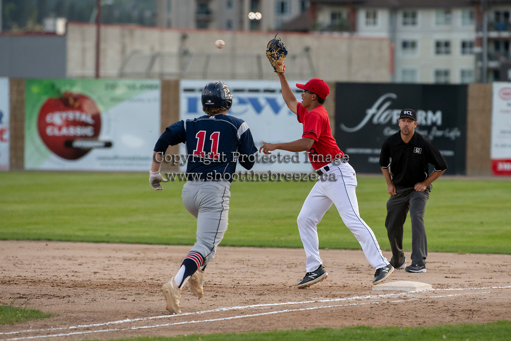 KELOWNA, BC - JULY 17: James Shimashita #8 of the Kelowna Falcons readies the catch as Connor Kiffer #11 of the Wenatchee Applesox runs for first at Elks Stadium on July 17, 2019 in Kelowna, Canada. (Photo by Marissa Baecker/Shoot the Breeze)