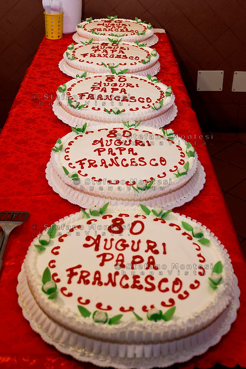 ROME, ITALY  -  DECEMBER 17:  Cake offered by Pope Francis to the poor of the Colle Oppio canteen. Pope Francis celebrates 80 years with 1500 guests of Rome's Caritas, offering cakes to be included in the menu with the meal that is delivered on December 17, 2016 in Rome, Italy.