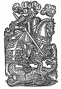 St George (dc303), the Red Cross Knight,  killing the Dragon. Perhaps Roman centurion beheaded near modern Tel Aviv. Patron saint of  England, Catalonia, Genoa, Greece, Portugal, Russia, Venice, and of soldiers. Woodcut from 1598 edition of Edmund Spenser (c1552-1599) 'The Faerie Queene'.