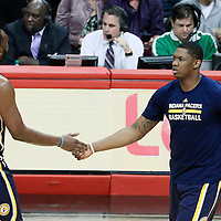 04 December 2016: Indiana Pacers center Al Jefferson (7) is congratulated by Indiana Pacers center Kevin Seraphin (1) during the Indiana Pacers 111-102 victory over the LA Clippers, at the Staples Center, Los Angeles, California, USA.