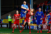AFC Wimbledon defender Darius Charles (32) goes up for the header during the EFL Sky Bet League 1 match between Walsall and AFC Wimbledon at the Banks's Stadium, Walsall, England on 14 April 2018. Picture by Simon Davies.