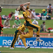 Australian player  Ellyse Perry in action during the Australia V New Zealand group A match at North Sydney Oval in the ICC Women's World Cup Cricket Tournament, in Sydney, Australia on March 8, 2009. New Zealand beat Australia by 13 runs in the (D/L method)  rain affected match. Photo Tim Clayton