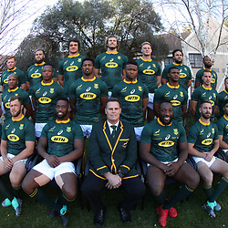 BLOEMFONTEIN, SOUTH AFRICA - JUNE 15: South African Team during South African (Springbok) team photo at the pool area of the team hotel, Tsogo Sun Bloemfontein.On June 15, 2018 in Bloemfontein, South Africa. (Photo by Steve Haag/Getty Images)