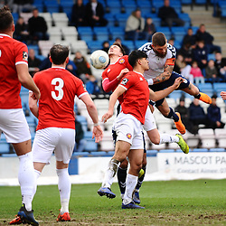 TELFORD COPYRIGHT MIKE SHERIDAN 9/3/2019 - Shane Sutton of AFC Telford heads at goal during the National League North fixture between AFC Telford United and FC United of Manchester (FCUM) at the New Bucks Head Stadium