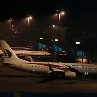 Malaysia Airlines aircraft parked at Kuala Lumpur International Airport (KLIA) in Sepang outside Kuala Lumpur, Malaysia, 18 May 2014. Malaysia Airlines lost contact with Flight MH17 at 5:15 pm (1415 GMT), about 50 kilometres from the Russia-Ukraine border, the airline said in a statement. The Boeing 777 departed Amsterdam at 12:15 pm and was scheduled to arrive in Kuala Lumpur at 6:10 am 18 July. The plane was carrying 280 passengers and 15 crew members, the statement said.