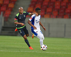 Solomon Mathe of Platinum Stars (L) and Thamsanqa Sangweni of Chippa United during the 2016 Premier Soccer League match between Chippa United and Platinum Stars held at the Nelson Mandela Bay Stadium in Port Elizabeth, South Africa on the 28th October 2016<br />