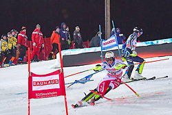 19.02.2019, Stockholm, SWE, FIS Weltcup Ski Alpin, Parallelslalom, Herren, im Bild v.l. Ramon Zenhaeusern (SUI), Andre Myhrer (SWE) // f.l. Ramon Zenhaeusern of Switzerland Andre Myhrer of Sweden in action during the men's parallel slalom of FIS ski alpine world cup at the Stockholm, Sweden on 2019/02/19. EXPA Pictures © 2019, PhotoCredit: EXPA/ Nisse Schmidt<br /> <br /> *****ATTENTION - OUT of SWE*****
