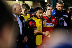 Captain David Lemi talks as Bristol Rugby huddle after they win 13-28 to take a 15 point lead into the second leg of the Final - Mandatory byline: Rogan Thomson/JMP - 18/05/2016 - RUGBY UNION - Castle Park - Doncaster, England - Doncaster Knights v Bristol Rugby - Greene King IPA Championship Play Off FINAL 1st Leg.