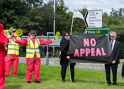© Licensed to London News Pictures;29/08/2020; Bristol Airport, Lulsgate Bottom, UK. Common Ground with Extinction Rebellion protest at Bristol Airport against plans to expand the airport and against the airport's decision to appeal against a refusal by North Somerset Council. This is on the second day of a bank holiday weekend of protest across the UK by Extinction Rebellion. XR are protesting in Bristol and other cities in the UK against climate change, leading up to a protest in London starting on 01 September. XR say that despite clear scientific evidence of the deadly climate and ecological emergency, the UK government are refusing to take the urgent action needed to avoid mass extinction. XR say we need politicians to support the Climate and Ecological Emergency Bill. During the coronavirus covid-19 pandemic, climate change is being forgotten but it is still an emergency that is happening, the elephant in the room. Photo credit: Simon Chapman/LNP.