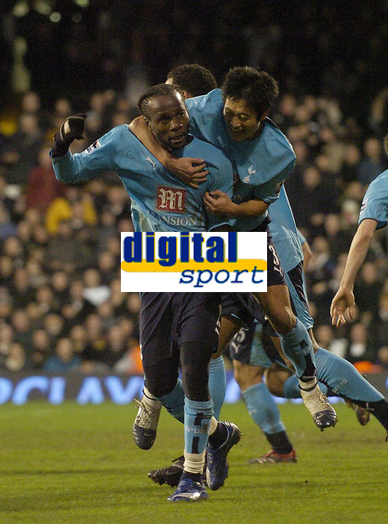 Photo: Olly Greenwood.<br />Fulham v Tottenham Hotspur. The Barclays Premiership. 20/01/2007. Tottenham's Pascal Chimbonda celebrates scoring with Lee Young Pyo