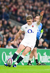 Owen Farrell co-captain of England kicks a conversion  - Mandatory by-line: Dougie Allward/JMP - 24/11/2018 - RUGBY - Twickenham Stadium - London, England - England v Australia - Quilter Internationals