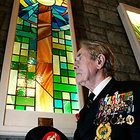 Cathcart Old Parish Church unveils a stained glass window in honour of the Royal Marines..Bernard Hallas (89) from York is the oldest surviving Royal Marine..