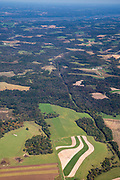 Aerial photograph of rural woodland and  farmland in Grant County, Wisconsin, USA.