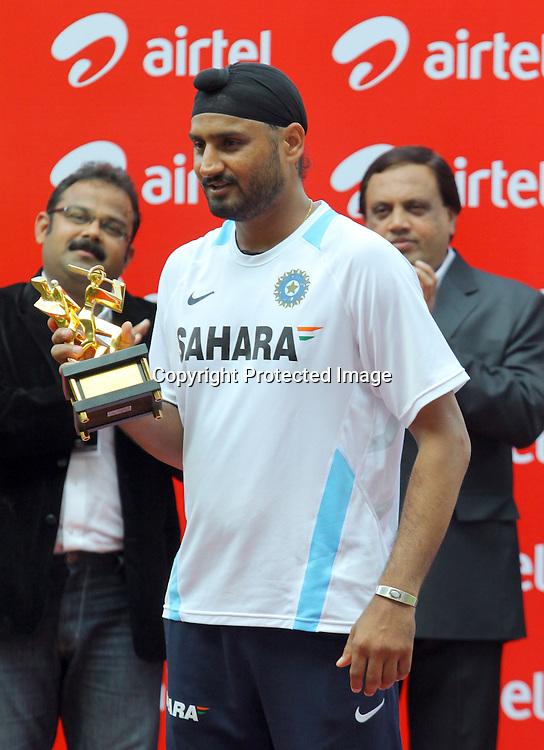 Indian player Harbhajan Singh with man of series trophy after won the 3 test match series against New Zealand during the 3rd test match day-4 Played at Vidarbha Cricket Association Stadium, Jamtha, Nagpur, 23 November 2010 (5-day match)