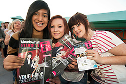 Student que for the Meadowhall Student Lock In left to right Abir Hussain, Charlotte Mirfin and Fran Froud.29th September2011. Image © Paul David Drabble