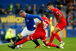 Sergio Escudero of Sevilla tackles Wayne Rooney of Everton - Mandatory by-line: Matt McNulty/JMP - 06/08/2017 - FOOTBALL - Goodison Park - Liverpool, England - Everton v Sevilla - Pre-season friendly