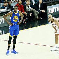 09 June 2017: Golden State Warriors forward Kevin Durant (35) is seen next to Cleveland Cavaliers forward Richard Jefferson (24) during the Cleveland Cavaliers 137-11 victory over the Golden State Warriors, in game 4 of the 2017 NBA Finals, at  the Quicken Loans Arena, Cleveland, Ohio, USA.